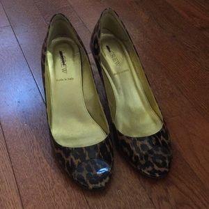 J. Crew peep toe leopard pumps.  Size 9